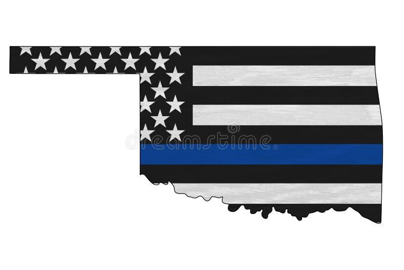 Amerykańska niebieska flaga na mapie Oklahomy obrazy royalty free