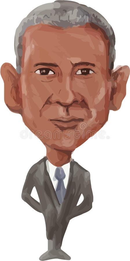 Amerykańska prezydenta Barack Obama karykatura ilustracja wektor