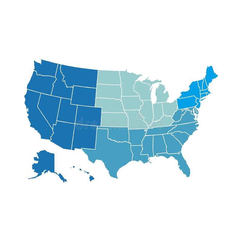 Amerykańska region mapa royalty ilustracja