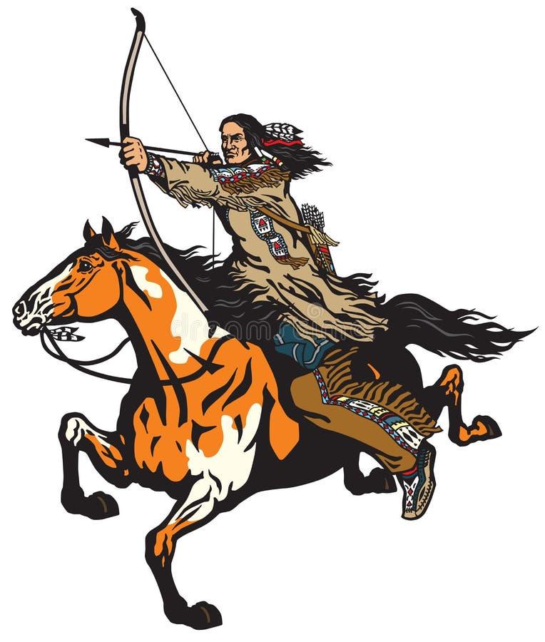 Amerykańska rodzima Indiańska łuczniczka na horseback ilustracji
