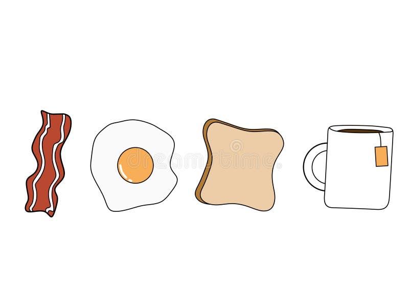 Amerykański śniadanie, bekon Smażył jajko Pokrajać herbaty i chleb ilustracja wektor
