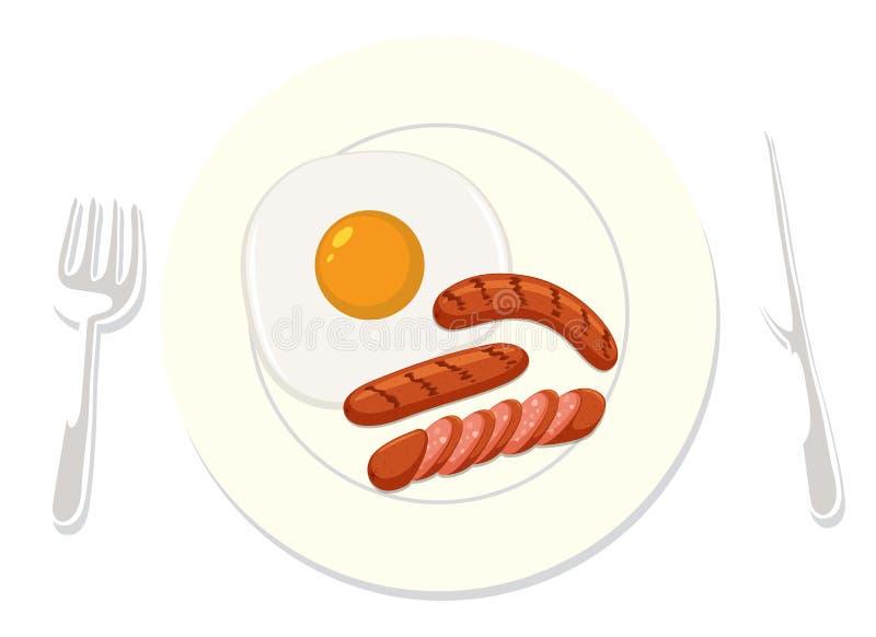 Amerykański śniadanie na Białym tle ilustracji