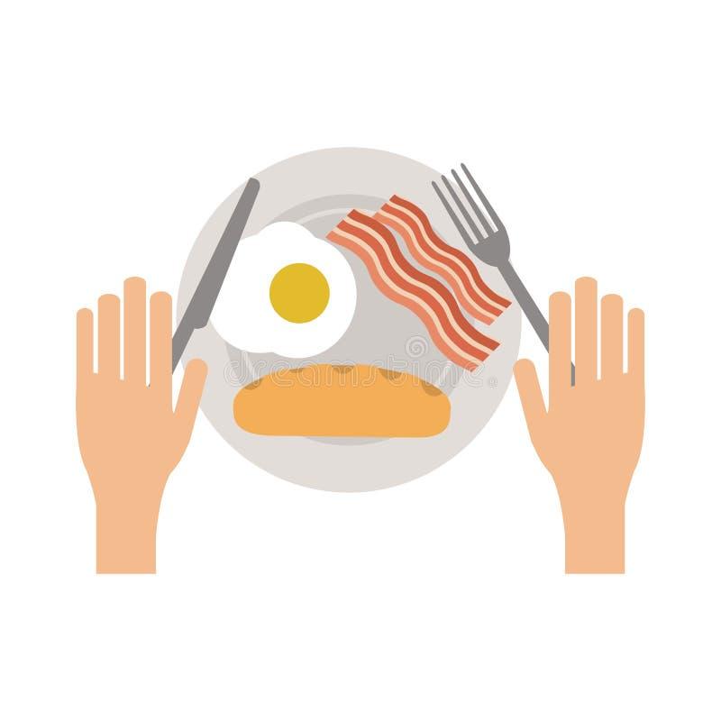 Amerykański śniadanie na naczyniu ilustracji