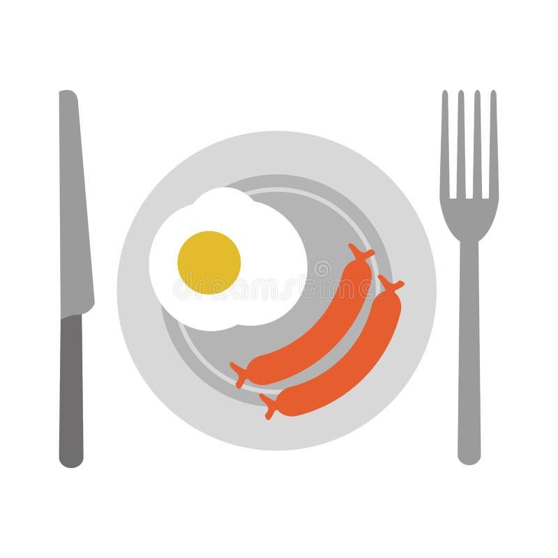 Amerykański śniadanie na naczyniu ilustracja wektor