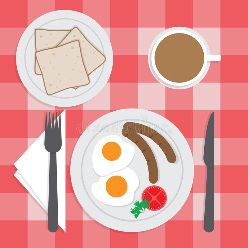 Amerykański śniadaniowy ustawiający na stole, Smażący jajko, kiełbasy, chleb, ilustracji