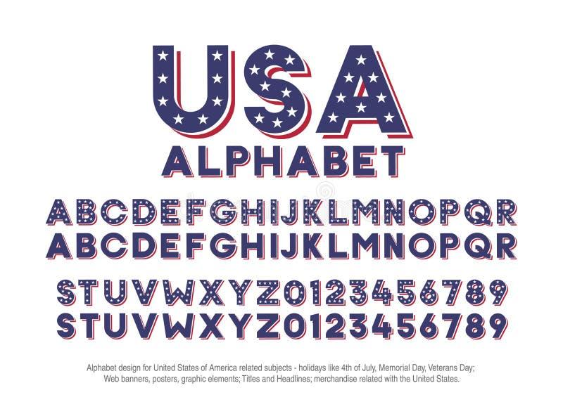 Amerykański abecadło z usa flaga kolorami i gwiazda kształtami Wektorowa chrzcielnica dla zlanych stanów America odnosić sie poję royalty ilustracja