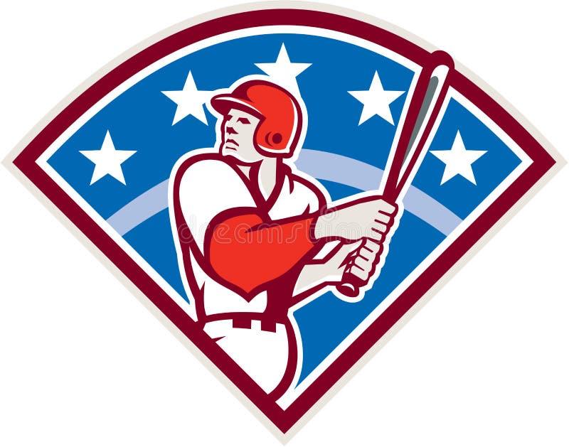 Amerykański baseballa ciasta naleśnikowego uderzającego nietoperza diament Retro royalty ilustracja