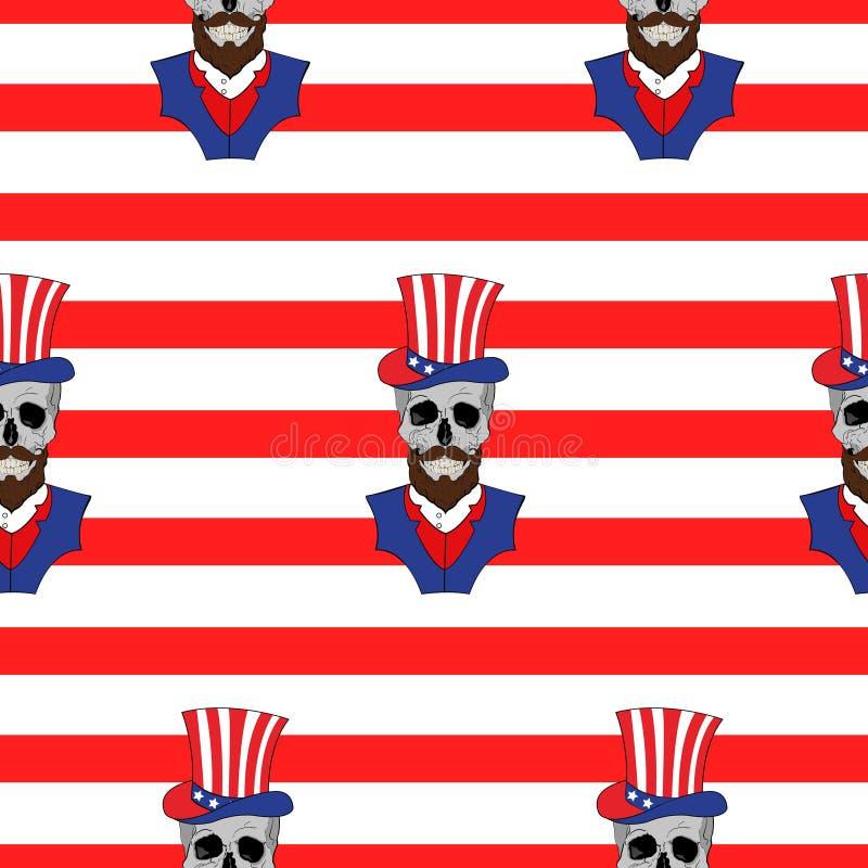Amerykański bezszwowy wzór z czaszkami z brodą w Amerykańskim kapeluszu ilustracji