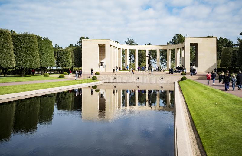 Amerykański cmentarniany pomnik w Normandy zdjęcie royalty free