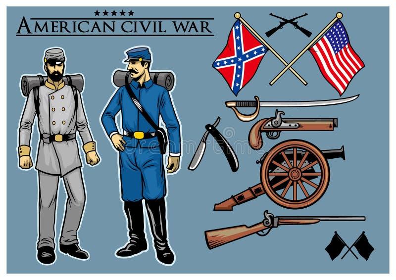 Amerykański cywilnej wojny set ilustracja wektor