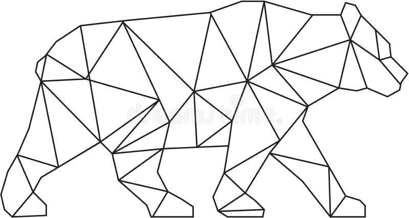 Amerykański Czarnego niedźwiedzia Czarny I Biały Niski wielobok royalty ilustracja