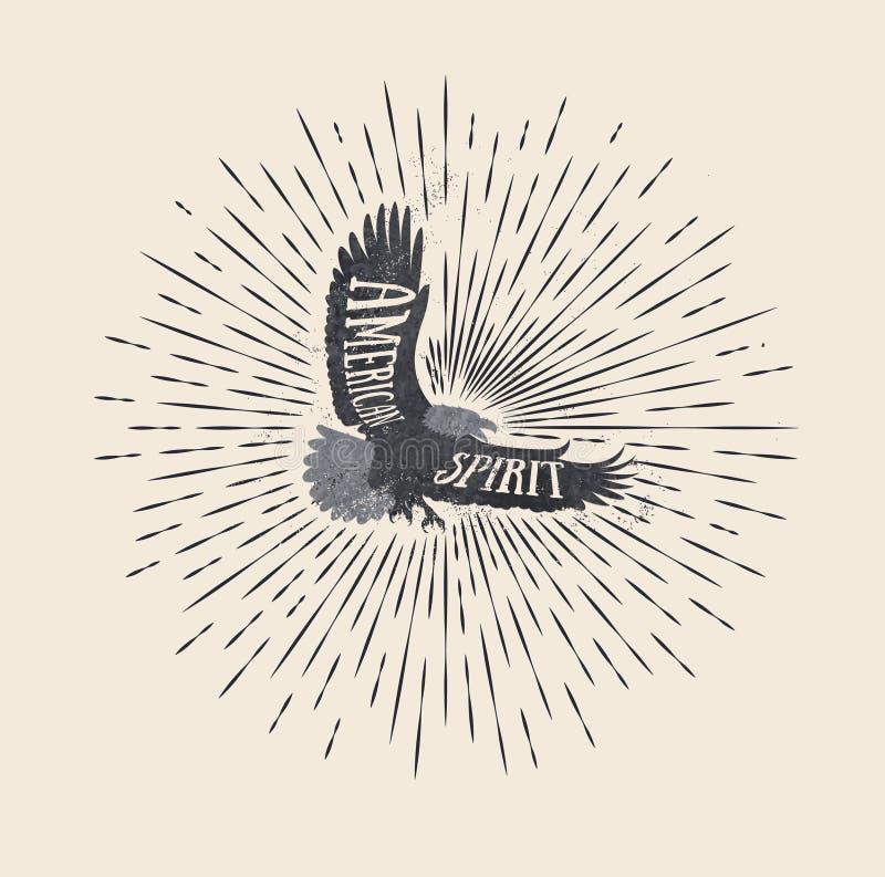 amerykański duch Rocznik projektująca wektorowa ilustracja orzeł royalty ilustracja