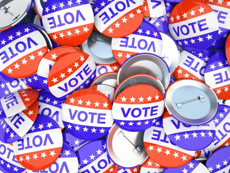 Amerykański głosowanie zapina ilustrację ilustracji