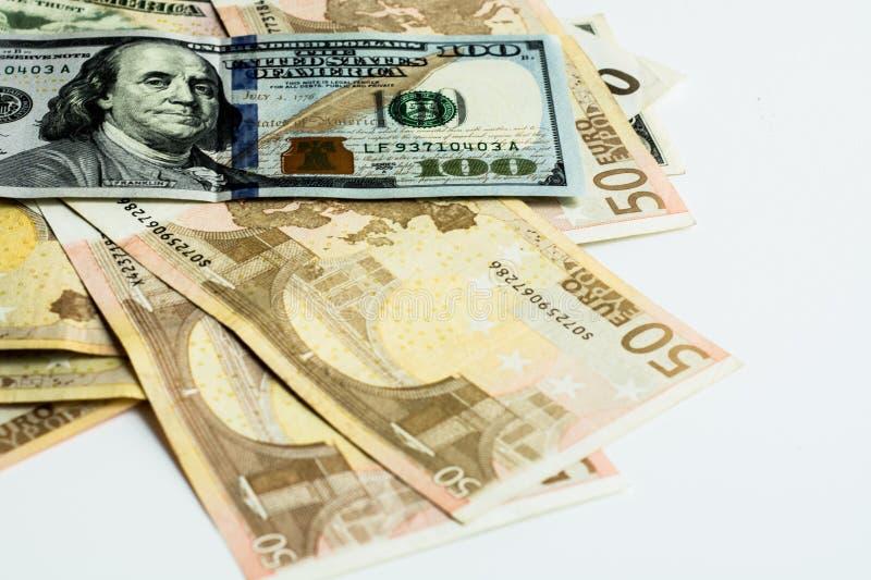 Amerykański i Euro pieniądze zdjęcia stock