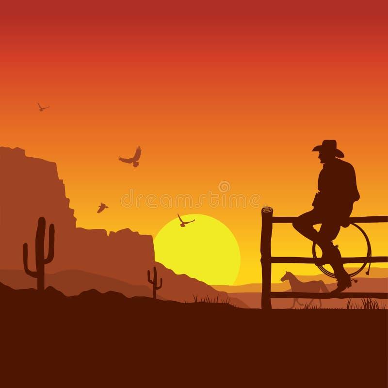 Amerykański kowboj na dzikim zachodnim zmierzchu krajobrazie w wieczór ilustracja wektor