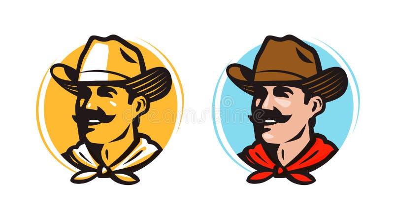 Amerykański kowboj, szeryfa logo lub etykietka, rolnik, hodowca, rolna ikona obcy kreskówki kota ucieczek ilustraci dachu wektor royalty ilustracja