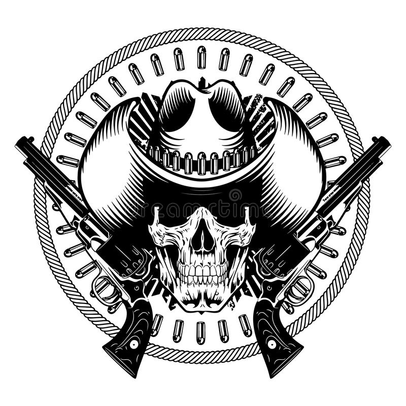 Amerykański kowbojski projekt Czaszka w kowbojskim kapeluszu, dwa krzyżujących pociskach, pistolecie, i ilustracji