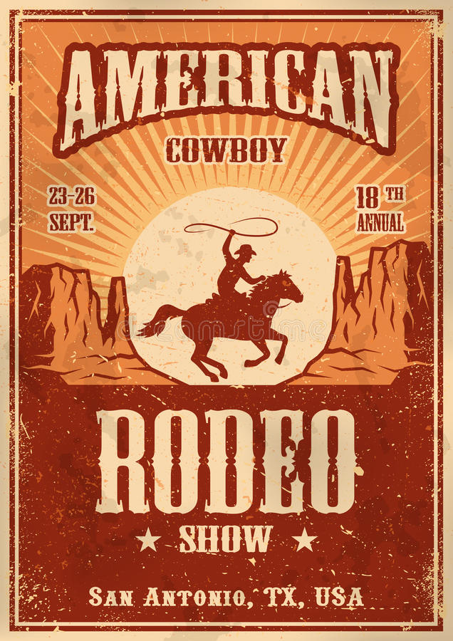 Amerykański kowbojski rodeo plakat ilustracji