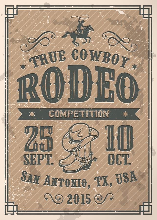 Amerykański kowbojski rodeo plakat royalty ilustracja