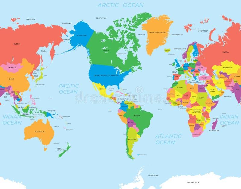 Amerykański mapa świat ilustracji