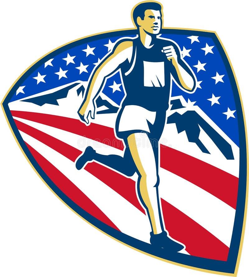 Amerykański Maratońskiego biegacza Biegać Retro royalty ilustracja