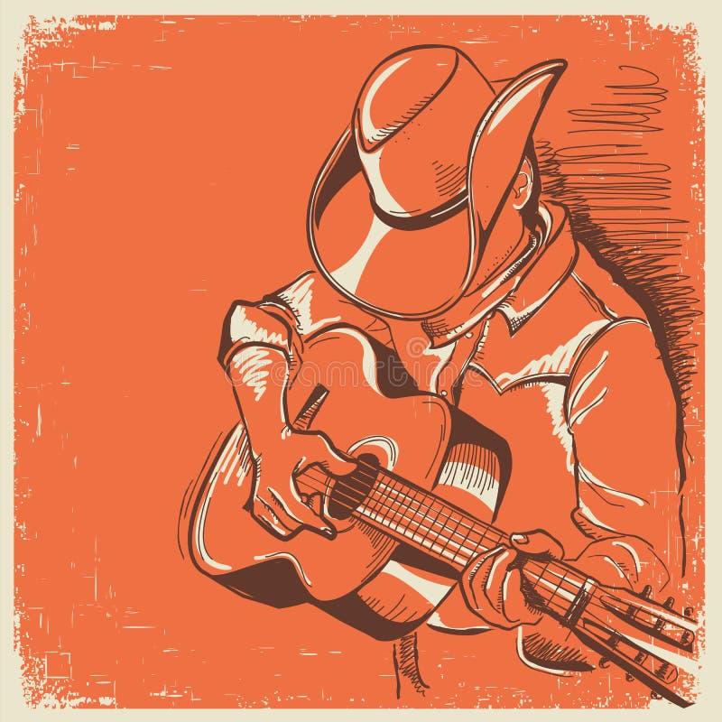 Amerykański muzyka country festiwal z muzykiem bawić się gitarę dalej ilustracji