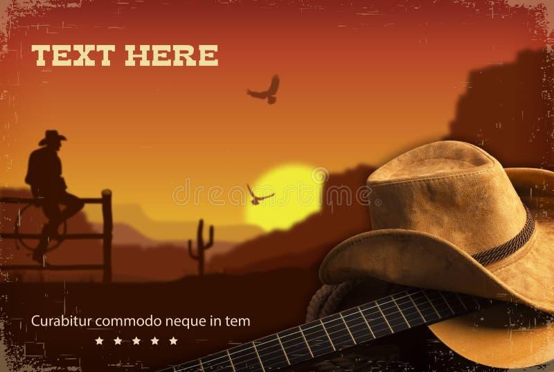 Amerykański muzyka country Zachodni tło z gitarą royalty ilustracja