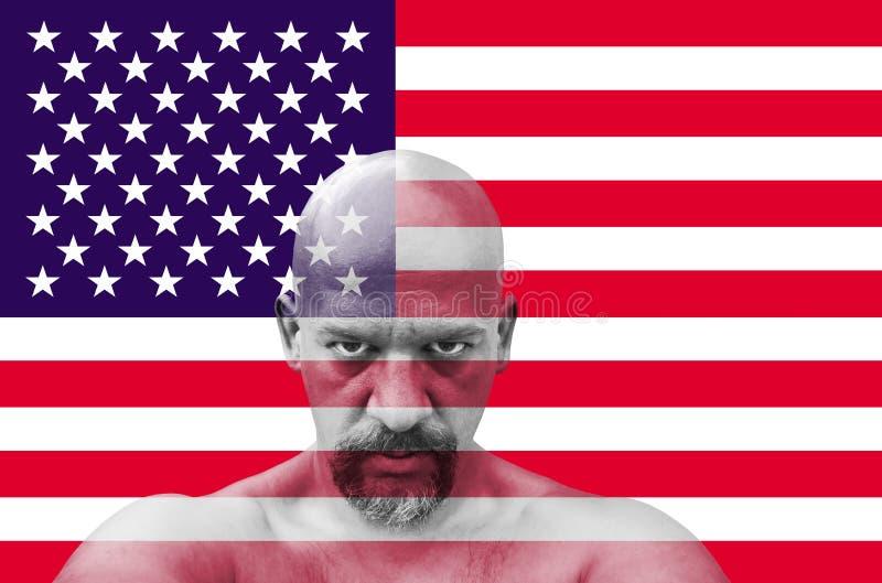Amerykański patriota patrzeje ciebie z usa flaga w tle obraz royalty free