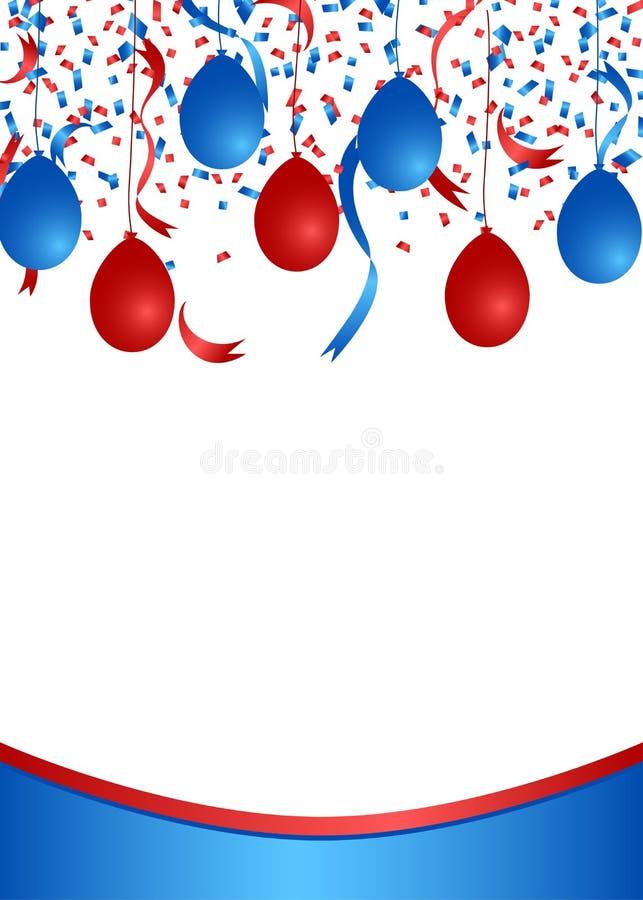Amerykański patriotyczny confetti i balonów sztandar ilustracja wektor