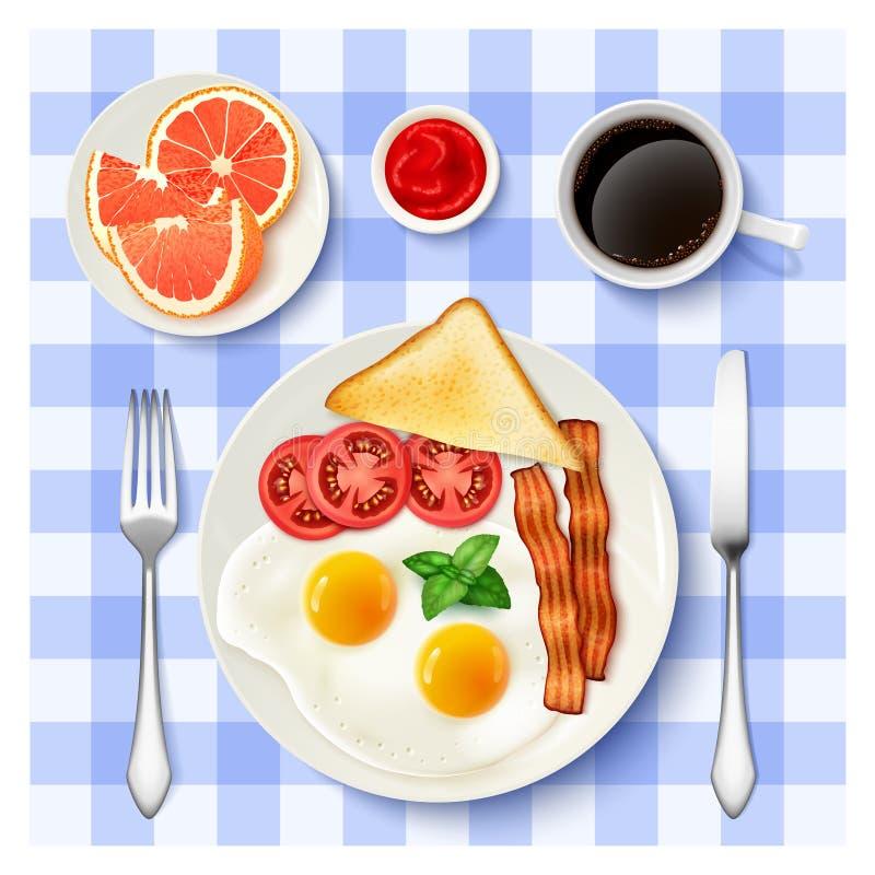 Amerykański Pełny Śniadaniowy Odgórnego widoku wizerunek royalty ilustracja