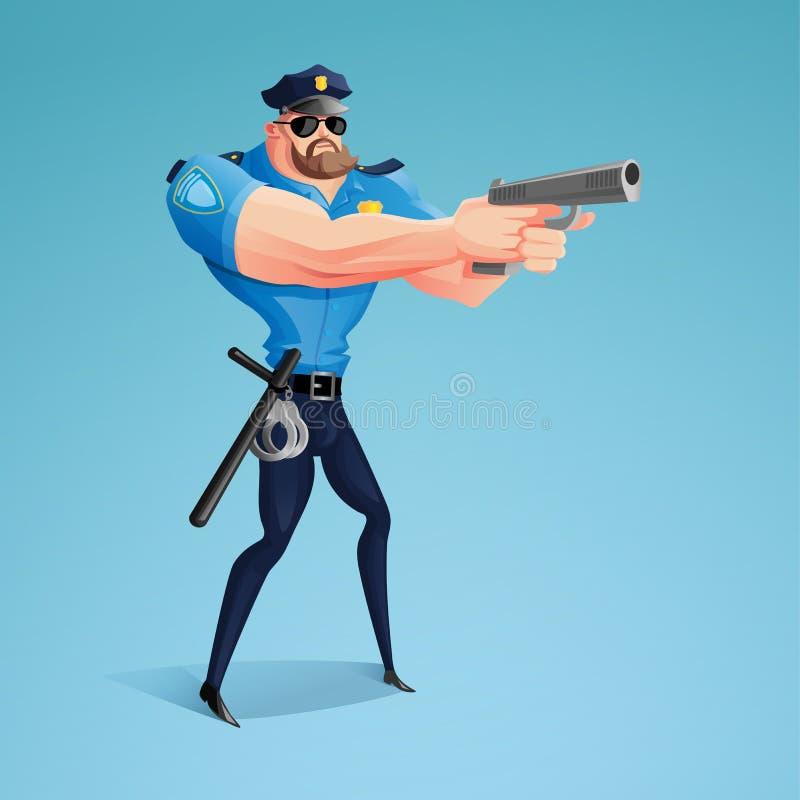 Amerykański policjant celuje jego pistolet przy rzekomą przestępcą ilustracja wektor