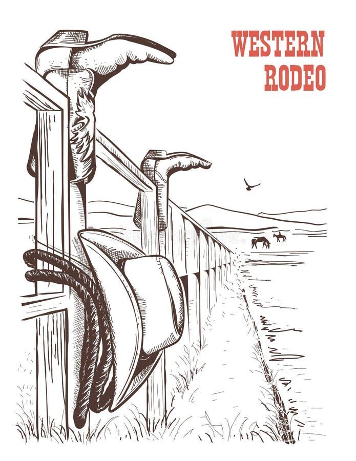 Amerykański rancho krajobraz z kowbojem odziewa na ogrodzeniu Wektorowy Han royalty ilustracja