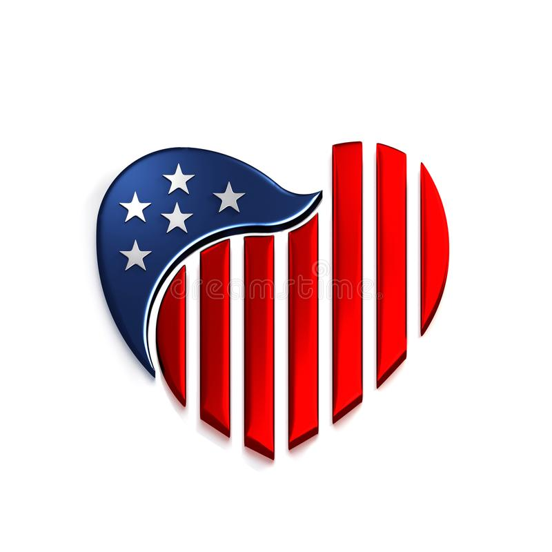 amerykański serce ilustracja 3 d, royalty ilustracja