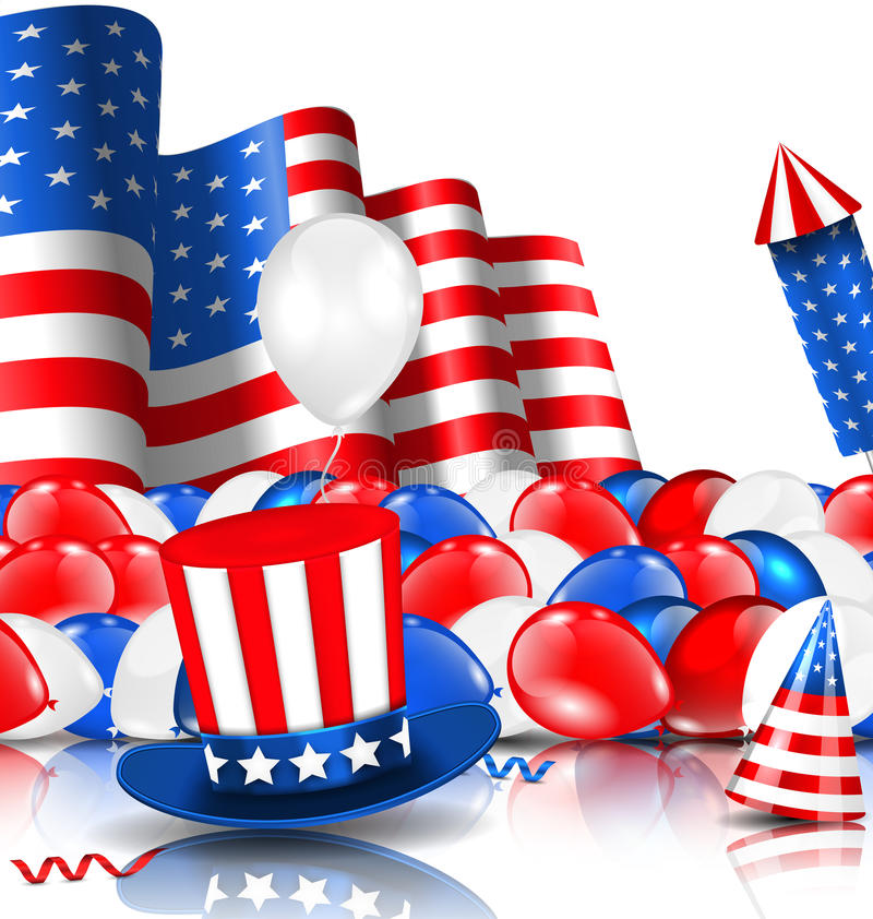 Amerykański tło z balonami, Partyjnymi kapeluszami, fajerwerk rakietą, flaga i confetti, royalty ilustracja