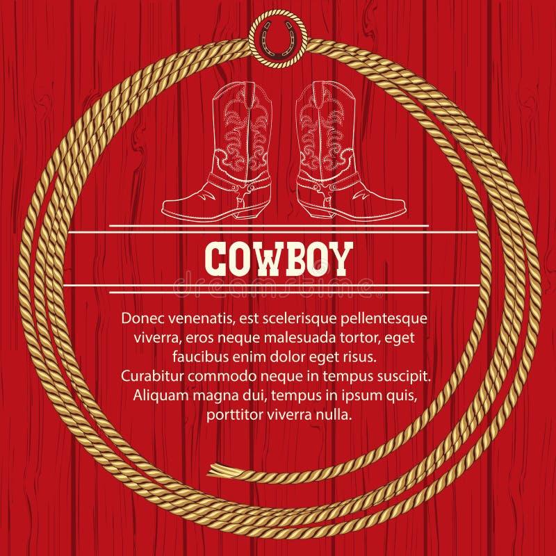 Amerykański tło z kowbojskimi butami i arkaną. ilustracja wektor