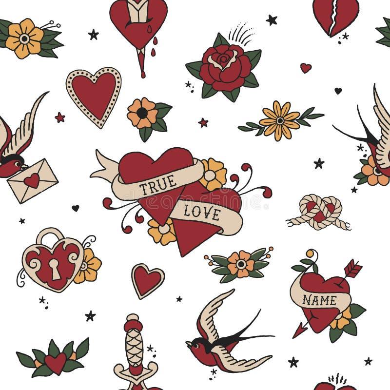 Amerykański Tradycyjny Bezszwowy Deseniowy miłość element na przejrzystym tle S zdjęcie stock