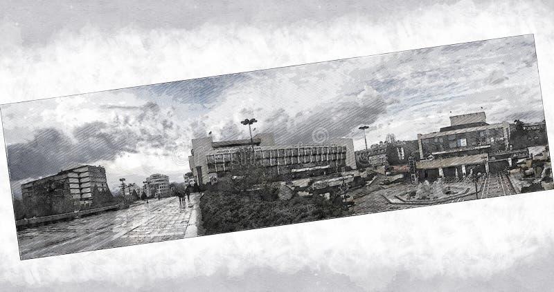 Amerykański uniwersytet w Bułgaria, Główny budynek, Kwadratowy Georgi Izmirliev, Blagoevgrad ilustracja wektor