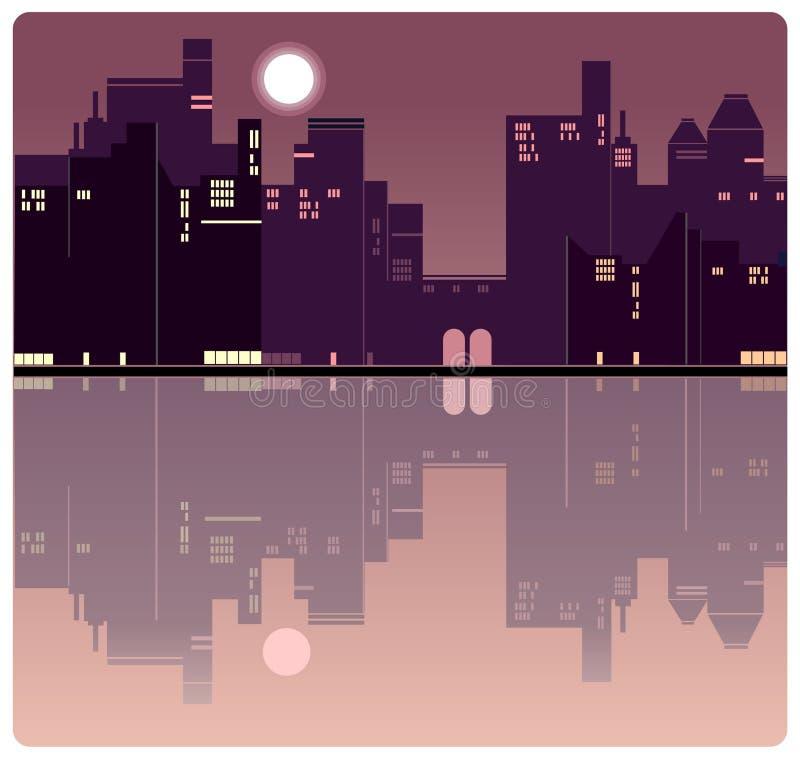 Amerykański wieczór miasta tło ilustracja wektor
