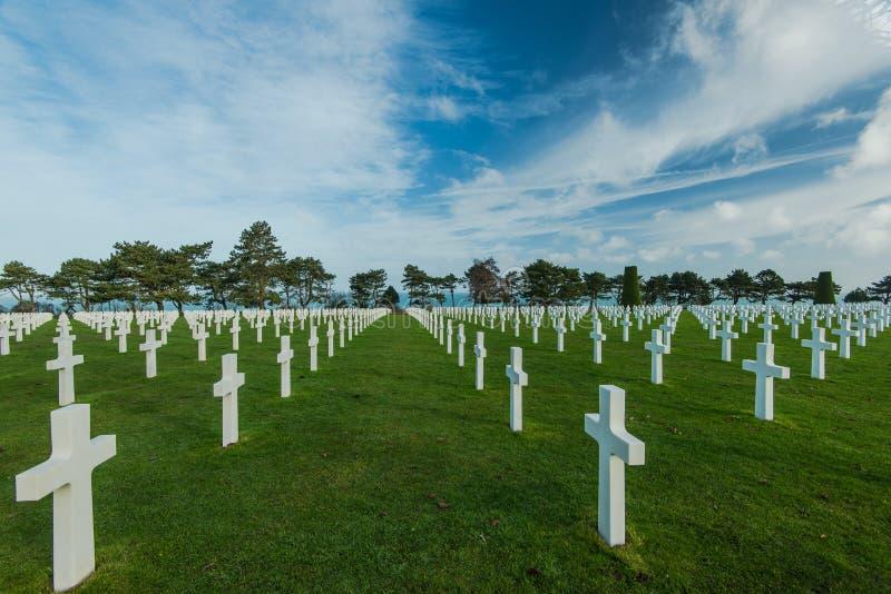 Amerykański Wojenny cmentarz blisko Omaha plaży, Normandy Colleville zdjęcia royalty free