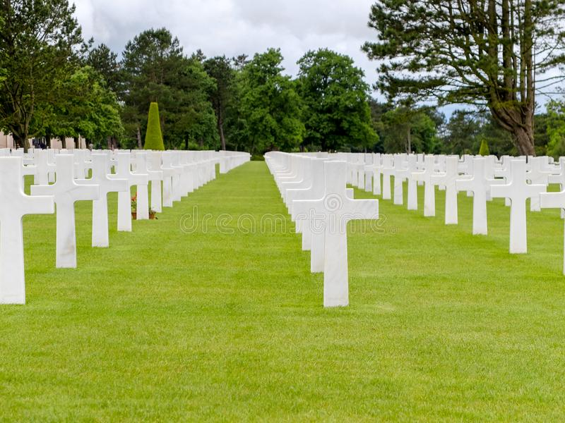 Amerykański wojenny cmentarz przy Colleville sura Mer, Normandy obrazy stock