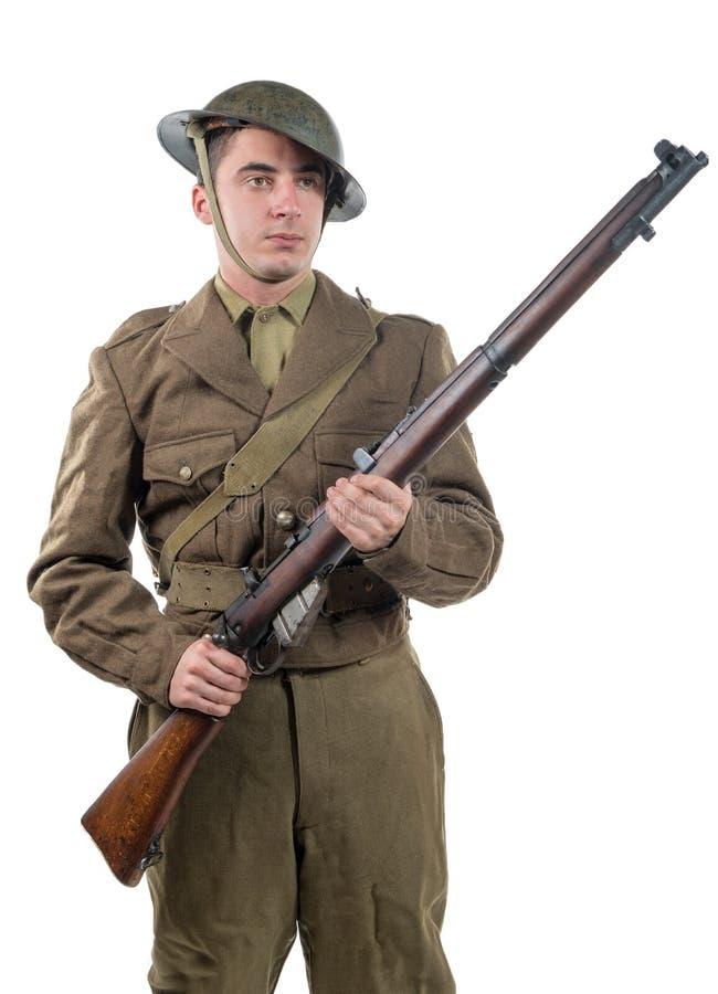 Amerykański wojny światowa 1 żołnierz 1917-18 na bielu zdjęcie royalty free