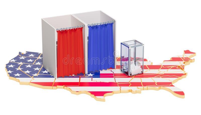Amerykański wybory pojęcie, tajnego głosowania pudełko z kabinami do głosowania na mapie ilustracji