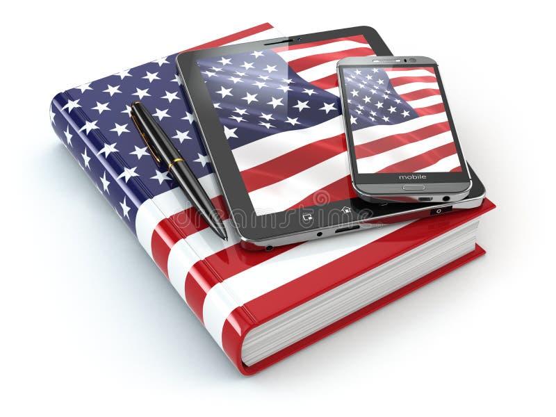 Amerykańskich anglików uczyć się Urządzenia przenośne, smartphone, pastylka komputer osobisty ilustracji