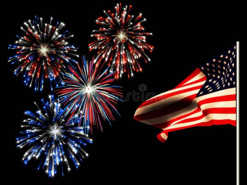 amerykańskich dzień fajerwerków chorągwiana niezależność ilustracji