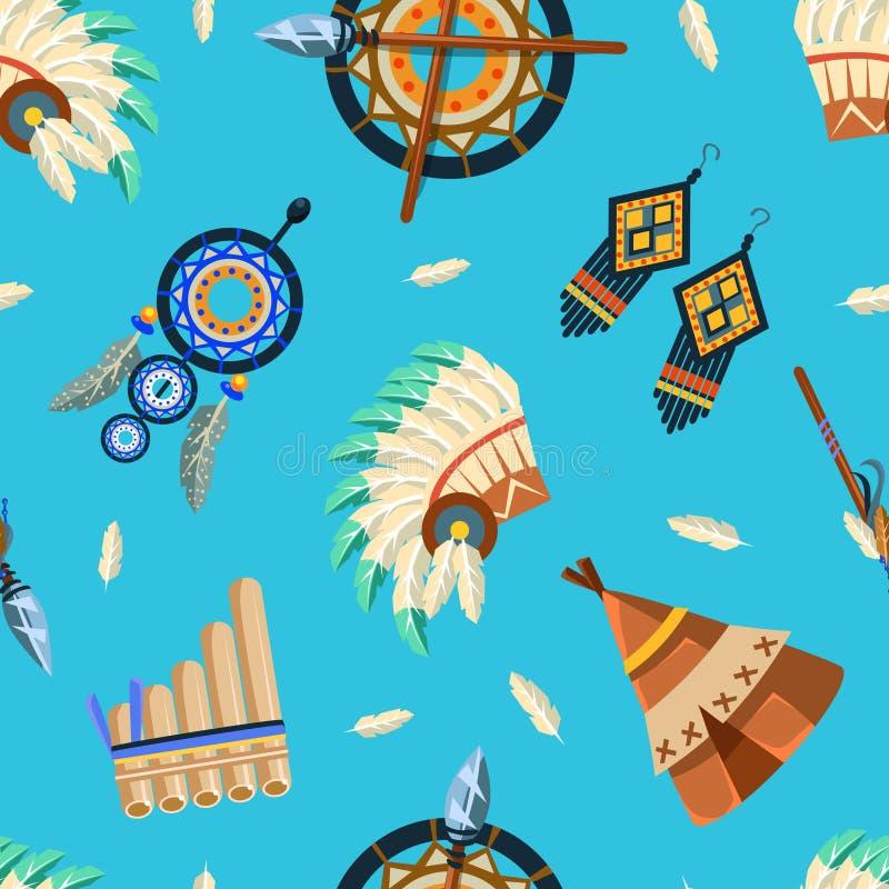 Amerykańskich indianów Bezszwowy wzór, Plemienny, azteka projekta element Może Używać dla tapety, Pakujący, tło wektor royalty ilustracja