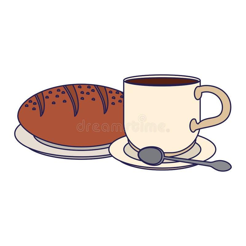 Amerykańskie śniadaniowego jedzenia niebieskie linie ilustracji