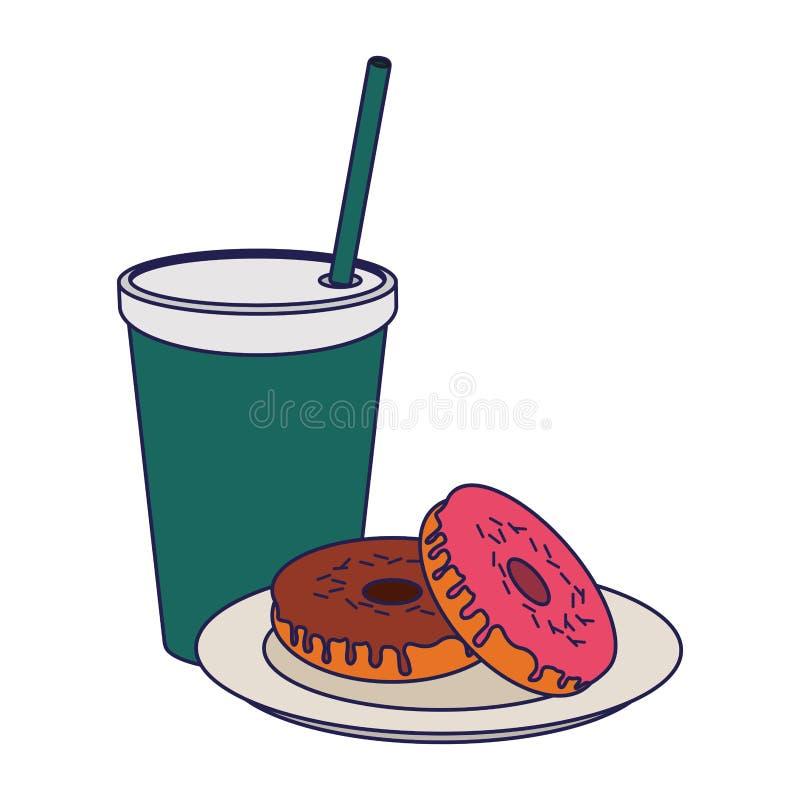 Amerykańskie śniadaniowego jedzenia niebieskie linie ilustracja wektor