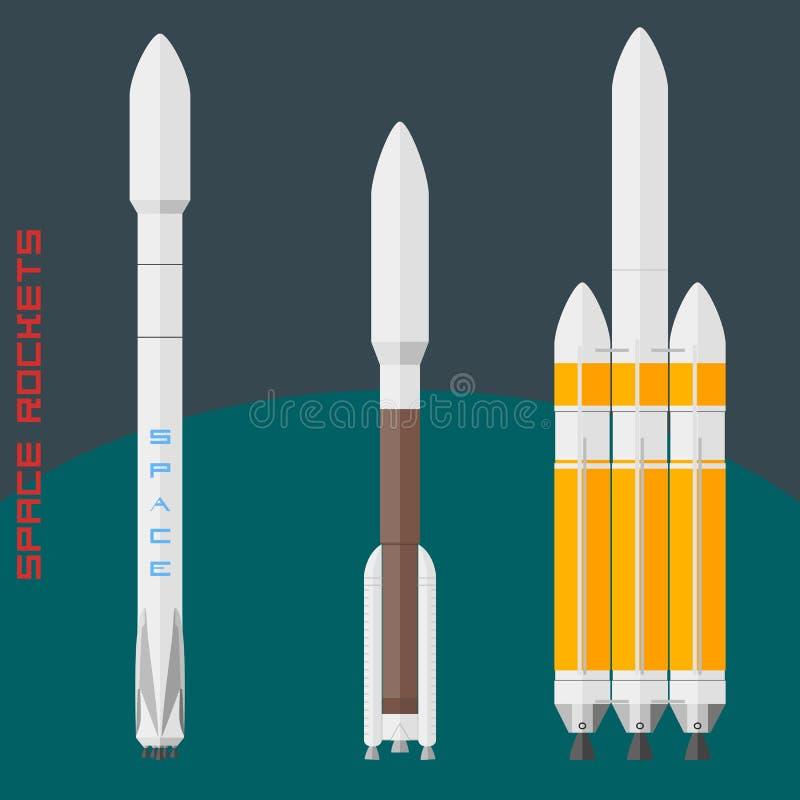 Amerykańskie astronautyczne rakiety ustawiać ilustracja wektor