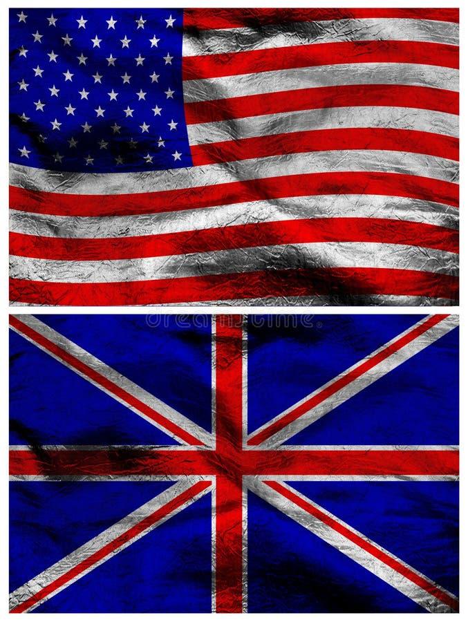 Amerykańskie i Brytyjskie jedwabnicze flaga zdjęcie stock