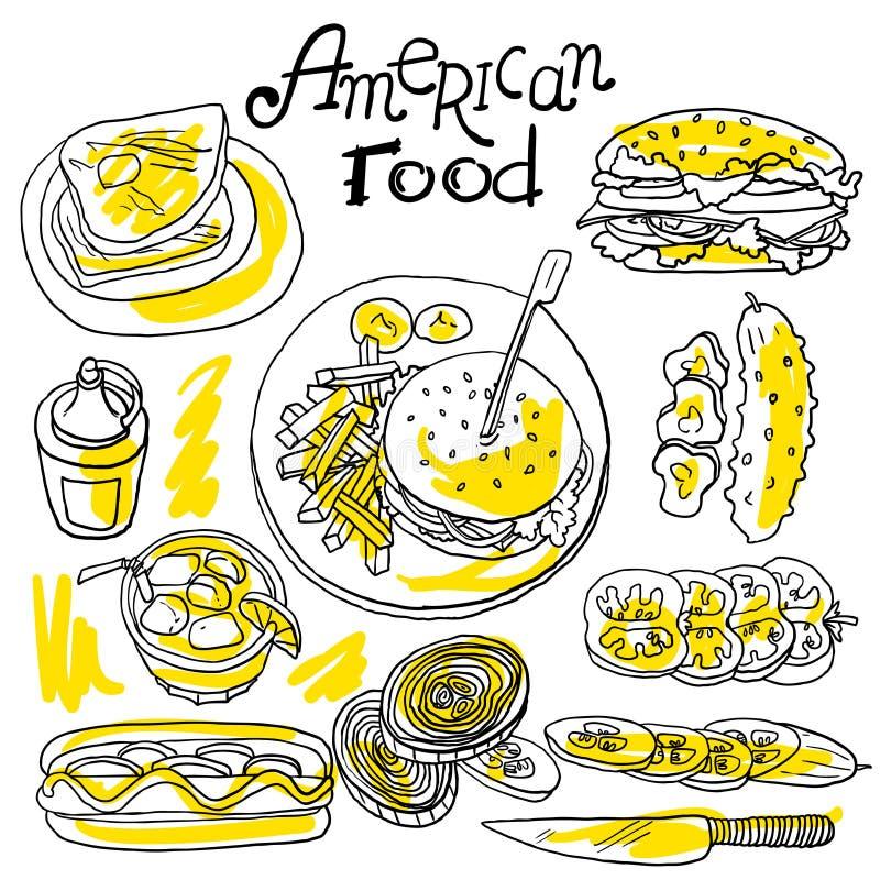 amerykańskie jedzenie royalty ilustracja